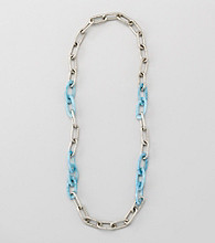 Relativity® Aqua And Silvertone Textured Link and Shell Necklace
