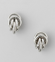 Relativity® Silvertone Textured Post Knot Button Earrings