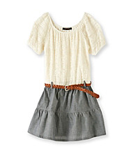 My Michelle Girls' 7-16 Ivory Lace/Chambray Dropwaist Dress