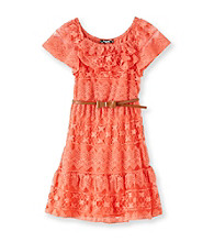My Michelle Girls' 7-16 Coral Lace Dress with Belt
