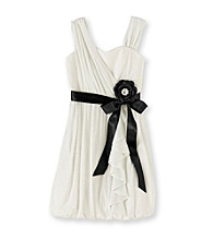 My Michelle Girls' 7-16 Ivory Sparkle Dress with Sash