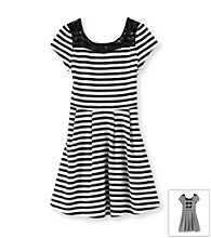 Amy Byer Girls' 7-16 Black/White Striped Dress
