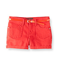 Jessica Simpson Girls' 7-16 Red Superstar Shorts with Jelly Belt