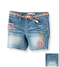 Squeeze® Girls' 7-16 Medium Wash Denim Peace Sign Midi Shorts