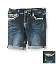 Imperial Star® Girls' 7-16 Dark Wash Denim Eyelet Trim Bermudas