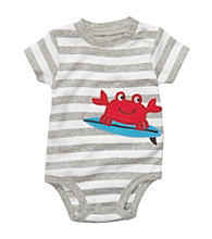 Carter's® Baby Boys' Heather Grey Striped Crab Applique Bodysuit