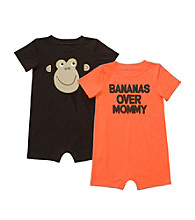 Carter's® Baby Boys' Brown/Orange 2-pk. Monkey Rompers