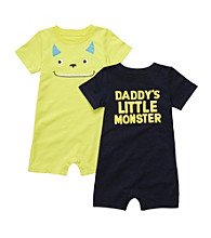 Carter's® Baby Boys' Navy/Lime 2-pk. Monster Rompers