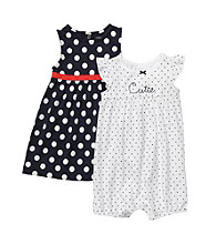 Carter's® Baby Girls' Navy 2-pk. Polka-Dot Dress and Romper