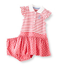 Little Me® Baby Girls' Pink Striped Anchor Polo Dress