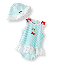 Little Me® Baby Girls' Blue Striped Cherry Popover and Hat