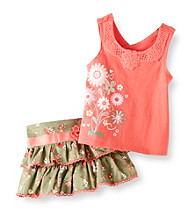 Nannette® Baby Girls' Coral/Green 2-pc. Tank and Skirt Set