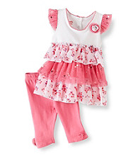 Nannette® Baby Girls' Pink 2-pc. Tiered Leggings Set