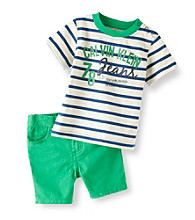 Calvin Klein Baby Boys' Green 2-pc. Striped Shorts Set