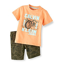 Calvin Klein Baby Boys' Orange/Camo 2-pc. Shorts Set