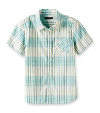 DKNY® Boys' 8-20 Green Short Sleeve Plaid Woven