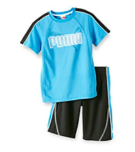 PUMA® Boys' 2T-7 Blue/Black 2-pc. Pieced Logo Shorts Set