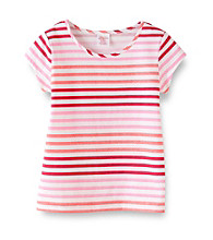 Miss Attitude Girls' 7-16 Short Sleeve Glitter Striped Tee
