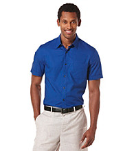 Perry Ellis® Men's Coastal Blue Short Sleeve Dobby Woven