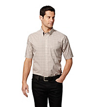 Van Heusen® Men's Khaki Plaza Taupe Mini Checkered Short Sleeve Button Down