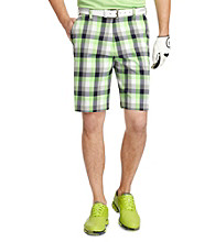 Izod® Men's Bright White Flat Front Plaid Shorts
