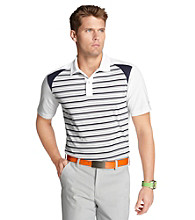 Izod® Men's Bright White Pieced Striped Polo