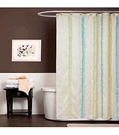 Lush Decor Aria Blue and Green Shower Curtain