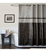 Lush Decor Croc Black Shower Curtain