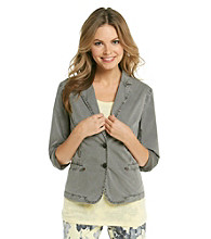 DKNY JEANS® Long Sleeve Notch Collar Poplin Blazer
