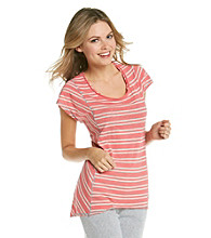 Calvin Klein Performance Short Sleeve Scoopneck Striped Boxy Tee