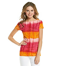 Jones New York Signature® Cap Sleeve Boatneck Tie-Dye Top