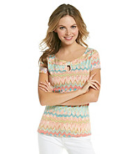 Rafaella® Short Sleeve Boatneck Watercolor Print Keyhole Tee