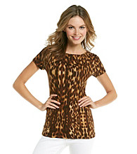 Jones New York Signature® Short Sleeve Boatneck Animal Print Top