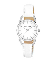 Anne Klein® Women's Leather Strap White Watch