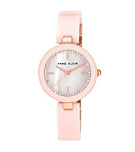 Anne Klein® Women's Ceramic Bangle Rose/Blush Watch
