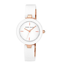 Anne Klein®Women's Ceramic Bangle Rose/White Watch