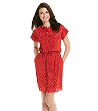Vince Camuto® Short Sleeve Henley Printed Shirt Dress