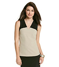 Calvin Klein Sleeveless V-Neck Colorblocked Top
