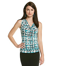 Calvin Klein Sleeveless Drapeneck Printed Top