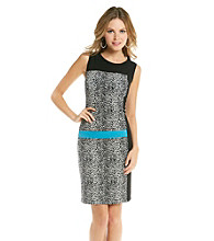 Chaus Sleeveless Crewneck Colorblock Animal Print Dress