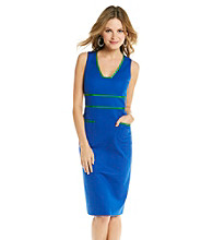 Anne Klein® Sleeveless V-Neck Contrast Trim Sheath Dress