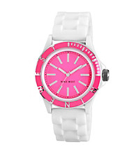 Nine West® Women's Silicon Strap Pink Watch