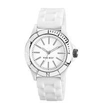 Nine West® Women's Silicon Strap White Watch
