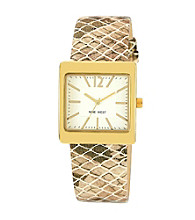 Nine West®Women's Snakeskin Strap Gold Watch