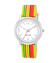 Nine West® Women's Ribbon Strap Green Watch
