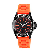 Nine West® Women's Silicon Strap Orange Watch