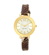 Nine West® Women's Snakeskin Strap Brown Watch