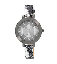 Nine West® Women's Snakeskin Strap Black Watch