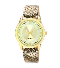 Nine West® Women's Metallic Snakeskin Strap Gold Watch
