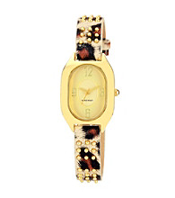 Nine West® Women's Leopard Print Strap Watch